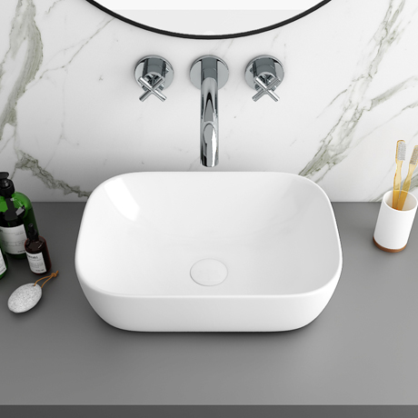 Arezzo 465 x 325mm Gloss White Curved Rectangular Counter Top Basin
