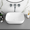 Arezzo 465 x 325mm Gloss White Curved Rectangular Counter Top Basin profile small image view 1