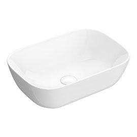 Arezzo 465 x 325mm Gloss White Curved Rectangular Counter Top Basin