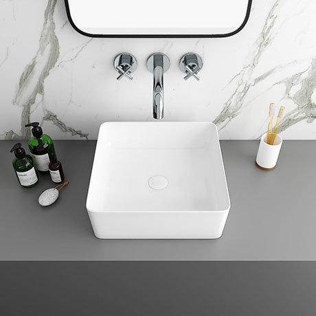 Arezzo 380 x 380mm Gloss White Square Counter Top Basin