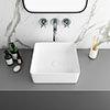 Arezzo 380 x 380mm Gloss White Square Counter Top Basin profile small image view 1