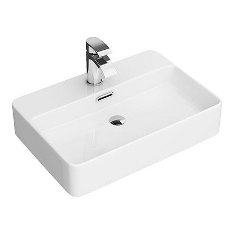 Arezzo 550 x 380mm Gloss White 1TH Rectangular Counter Top Basin