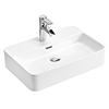 Arezzo 550 x 380mm Gloss White 1TH Rectangular Counter Top Basin profile small image view 1