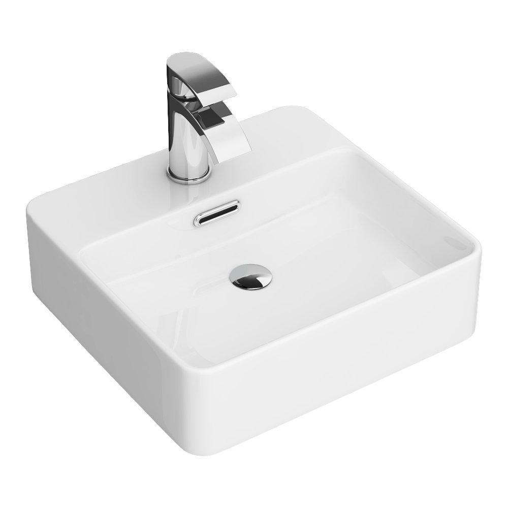 Arezzo 400 x 380mm Gloss White 1TH Rectangular Counter Top Basin