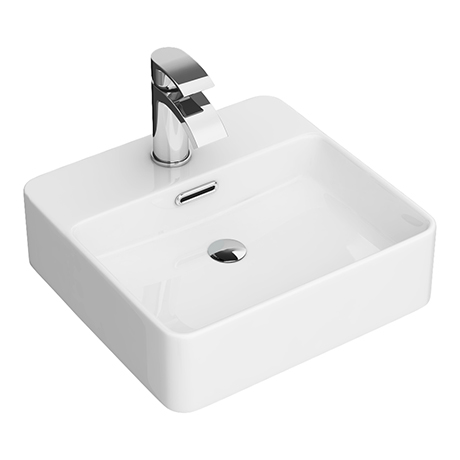 Arezzo 400 x 380mm Gloss White 1TH Rectangular Counter Top Basin