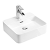 Arezzo 400 x 380mm Gloss White 1TH Rectangular Counter Top Basin profile small image view 1