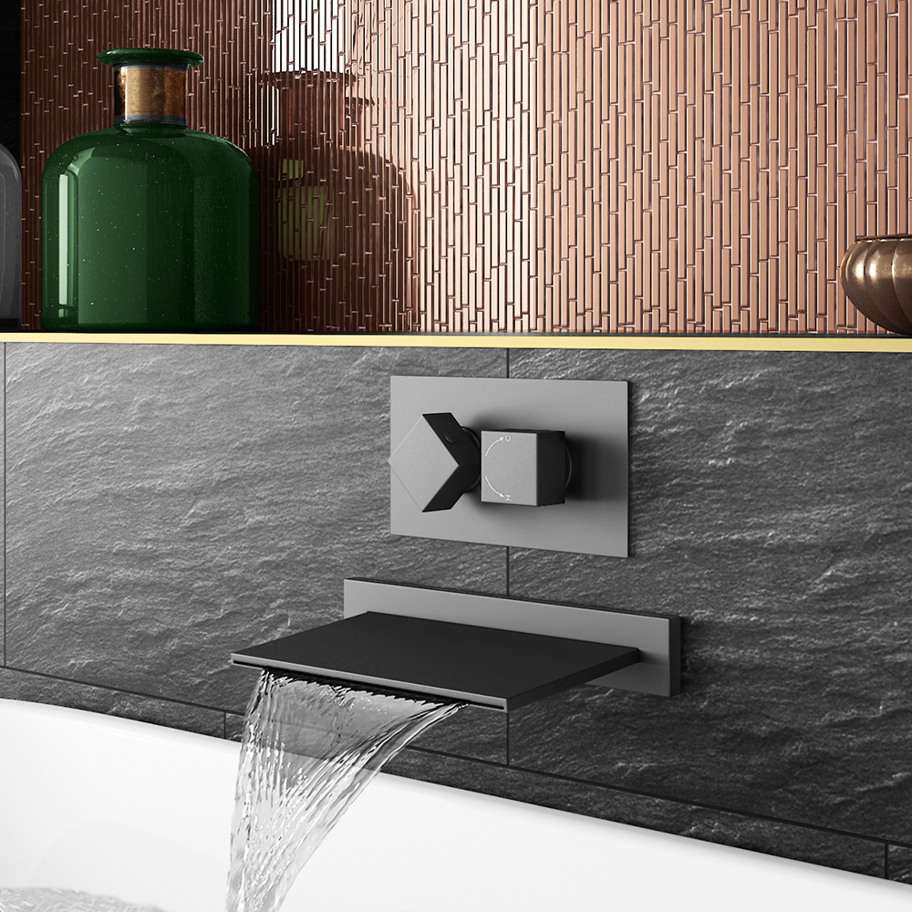 Arezzo Matt Black Wall Mounted Slimline Waterfall Bath Filler + Concealed Thermostatic Valve