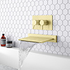 Arezzo Brushed Brass Wall Mounted Slimline Waterfall Bath Filler + Concealed Thermostatic Valve profile small image view 1