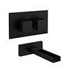 Arezzo Matt Black Wall Mounted Waterfall Bath Filler + Concealed Thermostatic Valve profile small image view 1