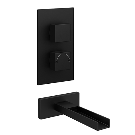 Arezzo Matt Black Wall Mounted Waterfall Bath Filler + Concealed Thermostatic Valve