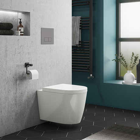 Dual Flush Concealed WC Cistern with Wall Hung Frame + Arezzo Toilet