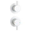 Arezzo Matt White Concealed Individual Stop Tap + Thermostatic Control Shower Valve profile small image view 1
