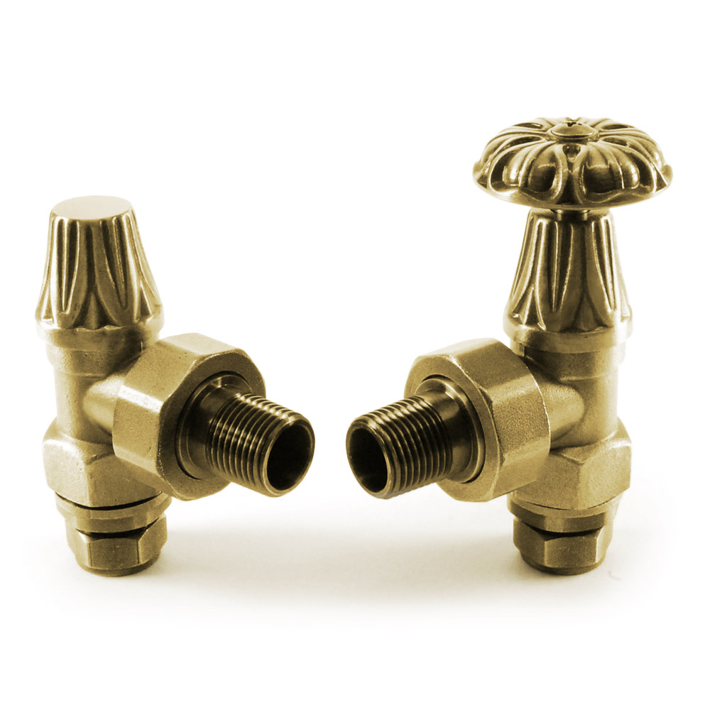 Abbey Traditional Manual Radiator Valves - Old English Brass Large Image