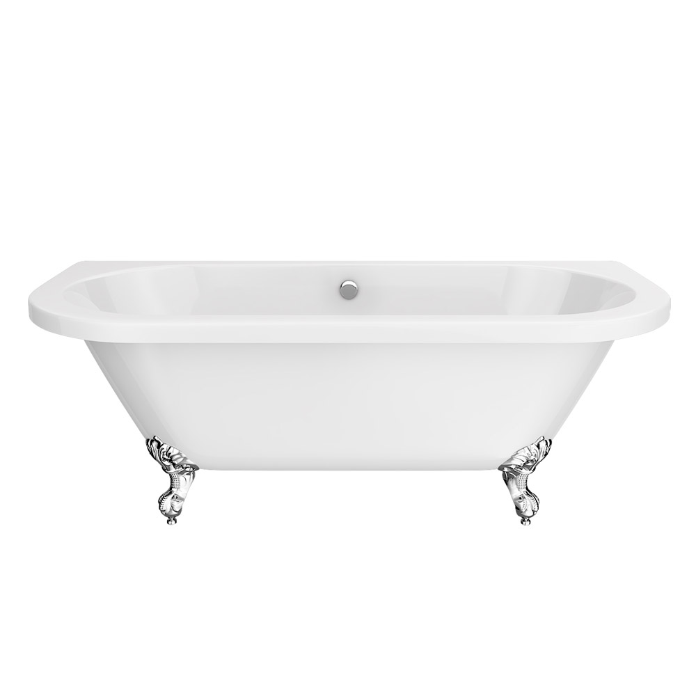Admiral 1685 Back To Wall Roll Top Bath + Chrome Leg Set profile large image view 2