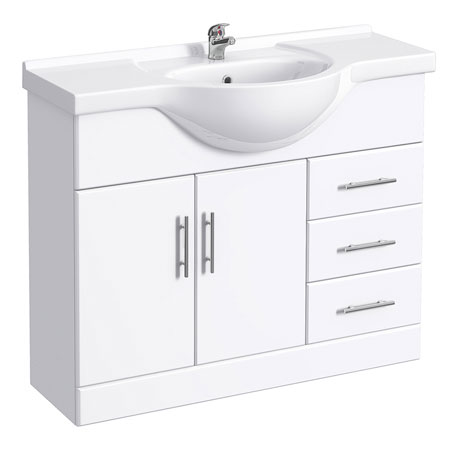 Alaska Large Bathroom Vanity Unit - 1050mm High Gloss White