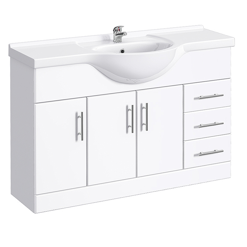 Alaska 1200mm Large Vanity Unit (High Gloss White - Depth 330mm) Large Image