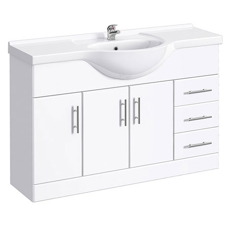 Alaska 1200mm Large Vanity Unit (High Gloss White - Depth 330mm)