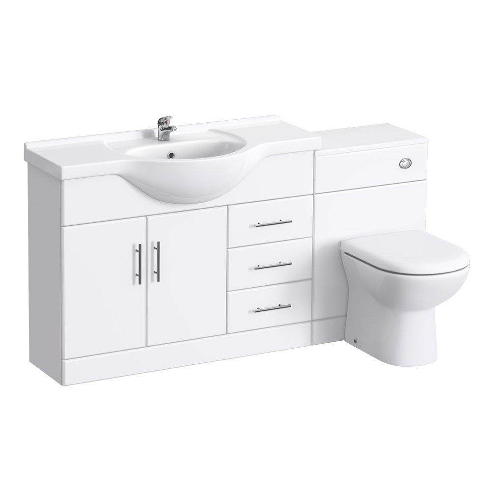 Alaska 1520mm Vanity Unit Bathroom Suite (High Gloss White - Depth 330mm) Large Image