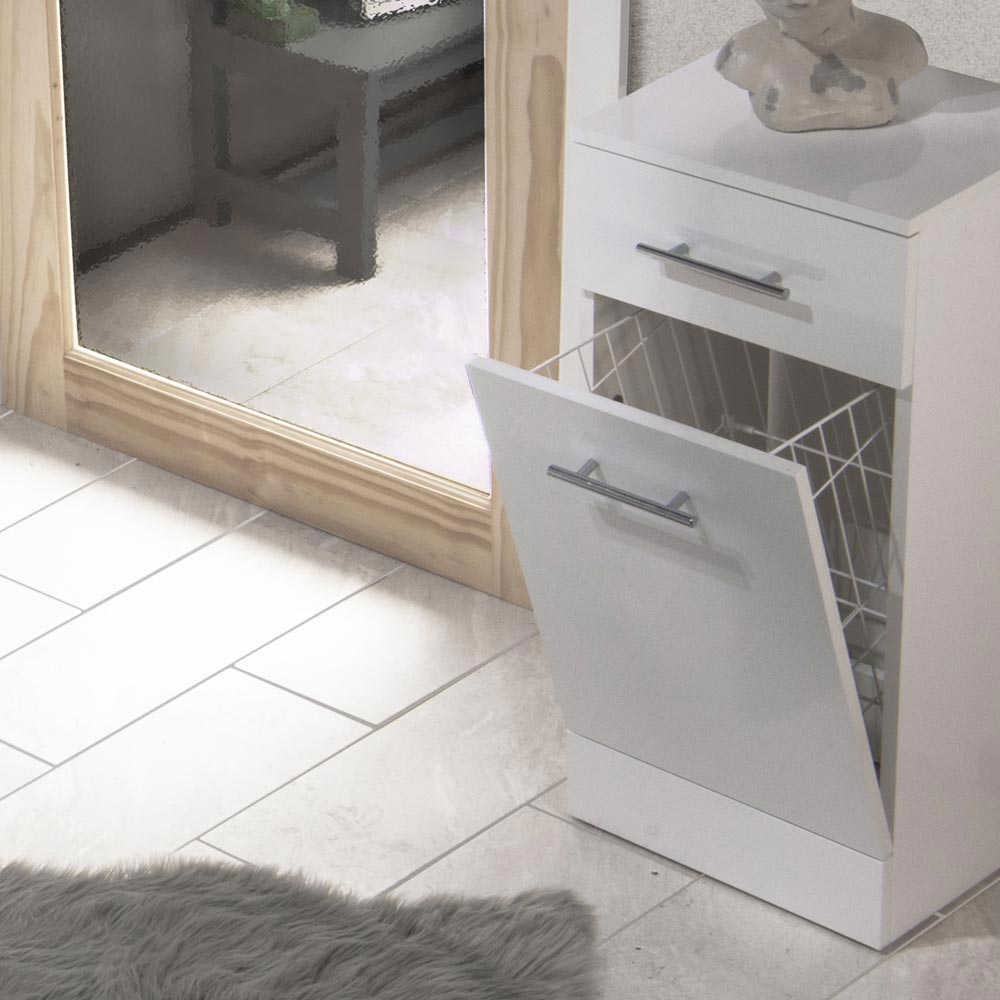 Alaska 350mm Deep Laundry Basket (High Gloss White - Depth 300mm) profile large image view 2