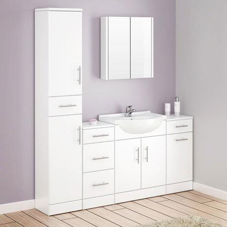 Alaska Bathroom Furniture Pack - 5 Piece White Gloss