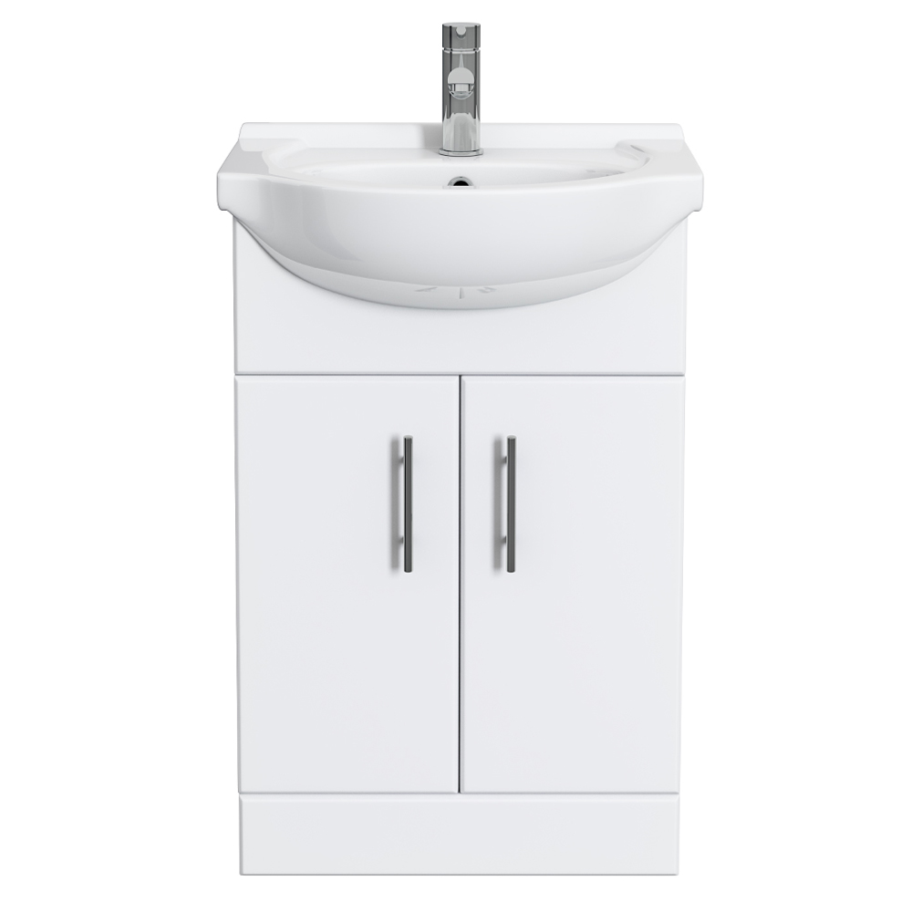 Alaska 550mm Vanity Unit (High Gloss White - Depth 300mm) profile large image view 3