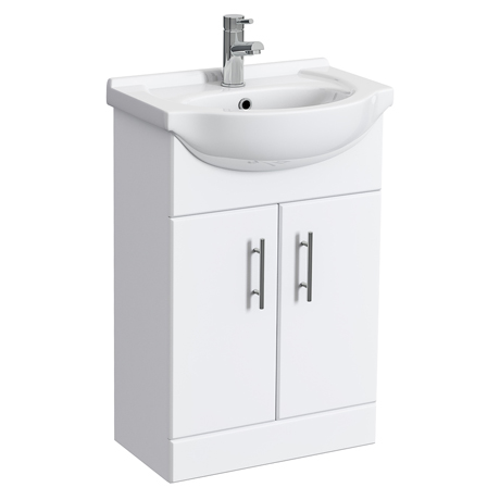 Alaska 550mm Vanity Unit (High Gloss White - Depth 300mm)