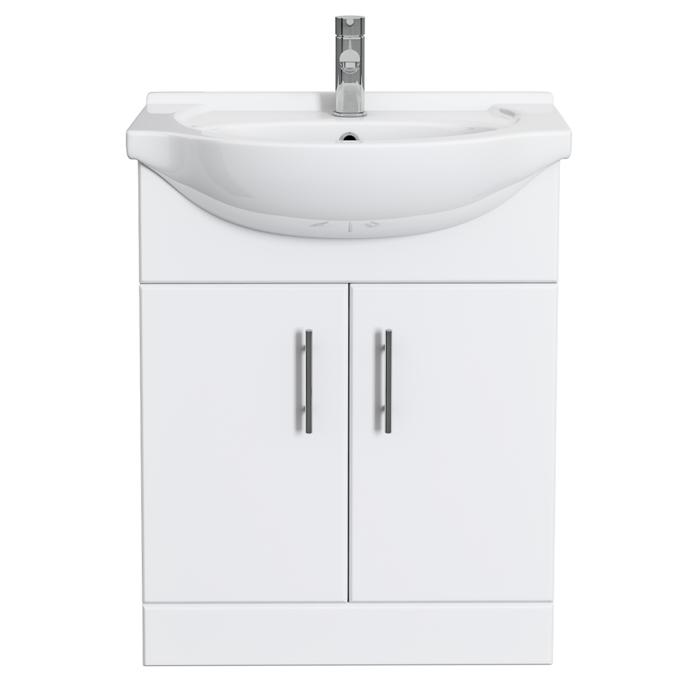 Alaska 650mm Vanity Unit (High Gloss White - Depth 300mm) Feature Large Image