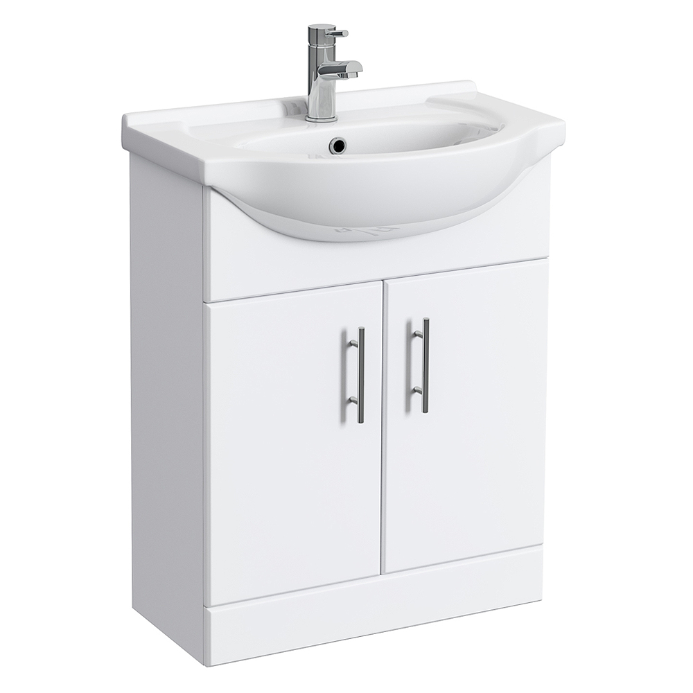 Alaska 650mm Vanity Unit (High Gloss White - Depth 300mm) Large Image