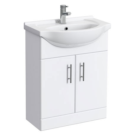Alaska 650mm Vanity Unit (High Gloss White - Depth 300mm)