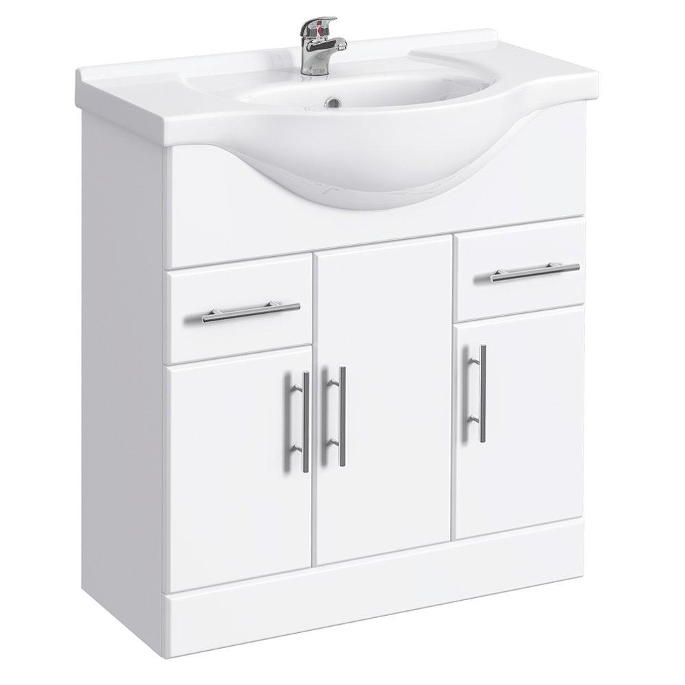 Alaska 750mm Vanity Unit (High Gloss White - Depth 330mm) Large Image