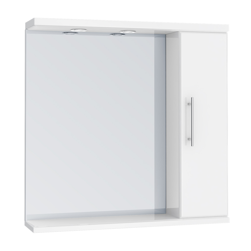 Alaska 750mm Illuminated Mirror Cabinet (High Gloss White - Depth 170mm) profile large image view 1