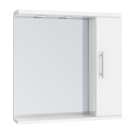 Alaska 750mm Illuminated Mirror Cabinet (High Gloss White - Depth 170mm)