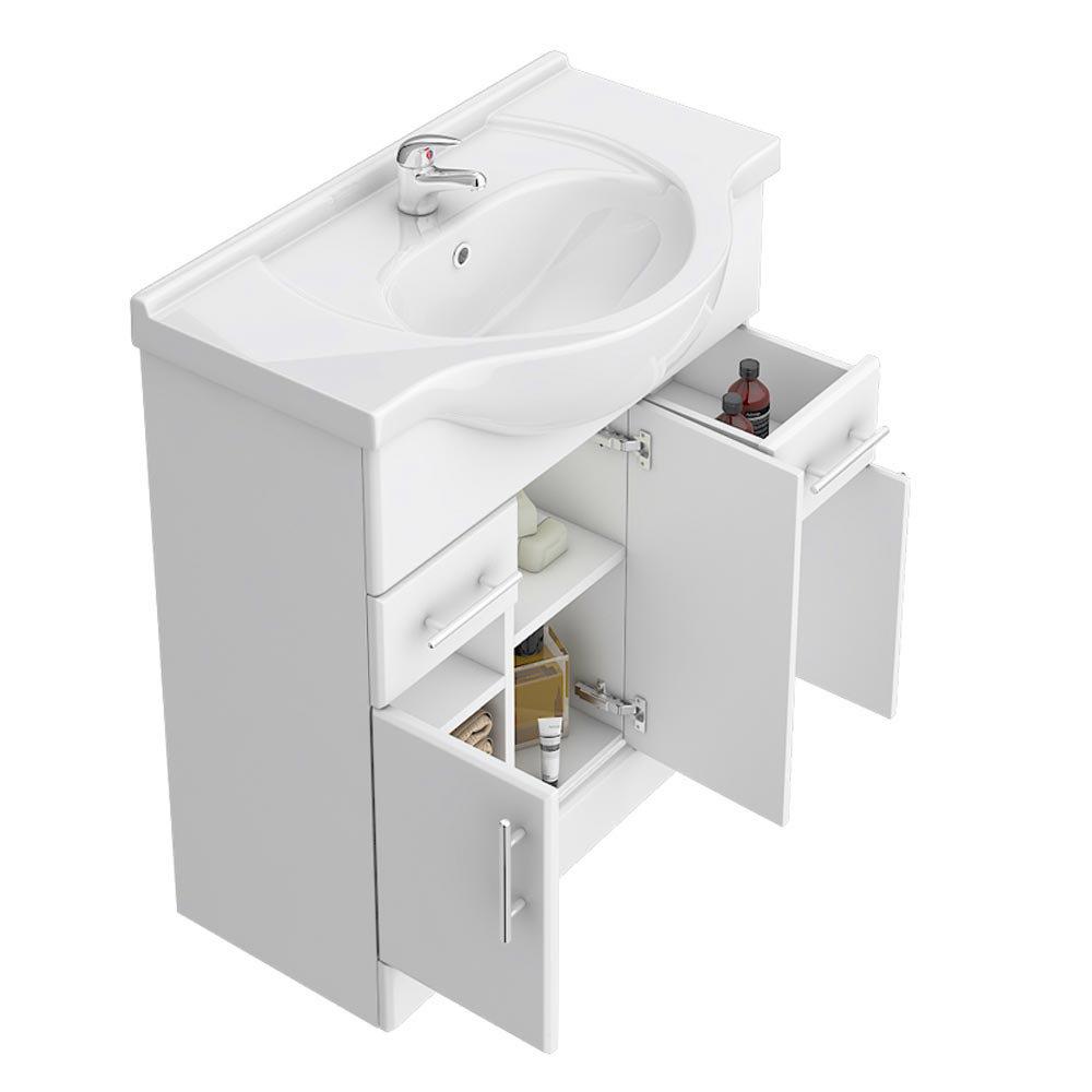 Alaska 750mm Vanity Unit (High Gloss White - Depth 330mm)  Profile Large Image
