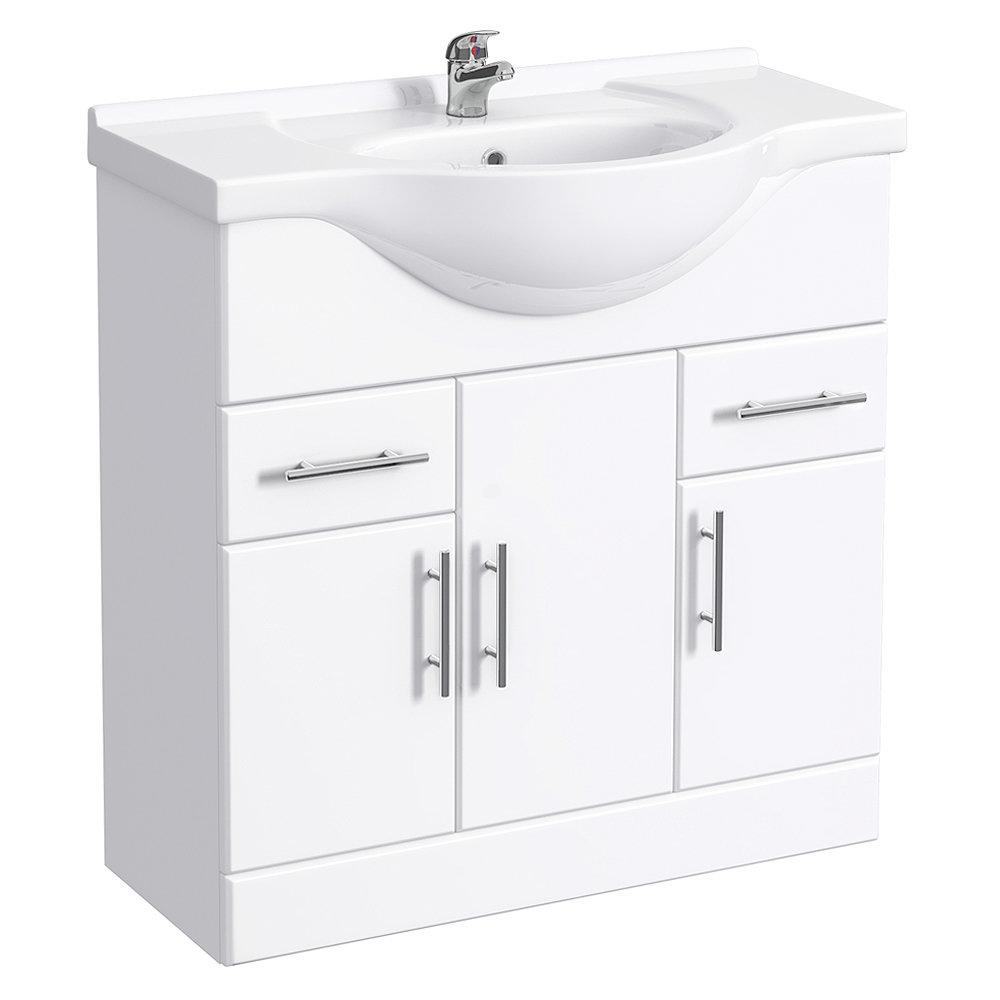 Alaska 850mm Vanity Unit (High Gloss White - Depth 330mm) Large Image