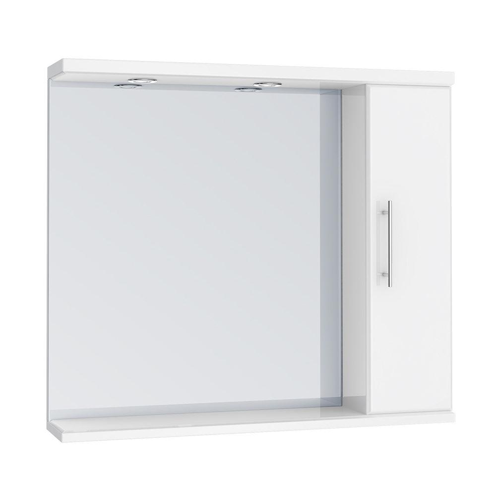 Alaska 850mm Illuminated Mirror Cabinet (High Gloss White - Depth 170mm) Large Image
