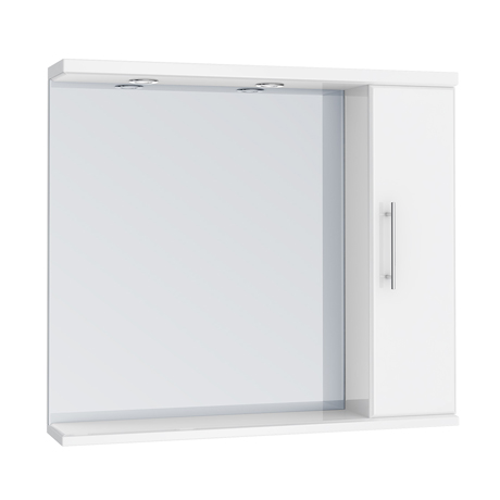 Alaska 850mm Illuminated Mirror Cabinet (High Gloss White - Depth 170mm)