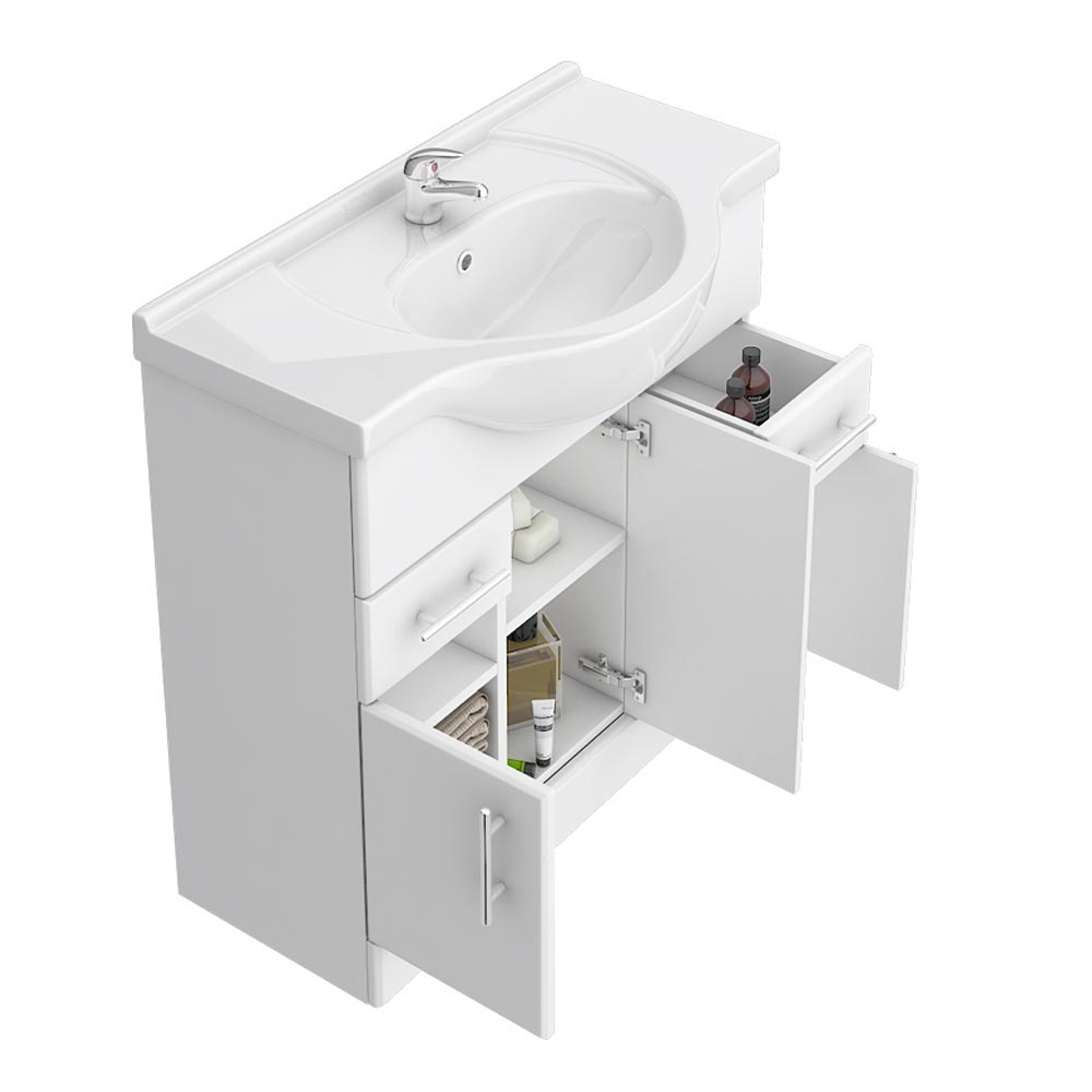 Alaska 850mm Vanity Unit (High Gloss White - Depth 330mm)  Profile Large Image