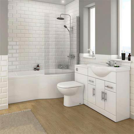 Alaska Bathroom Suite with B-Shaped Shower Bath