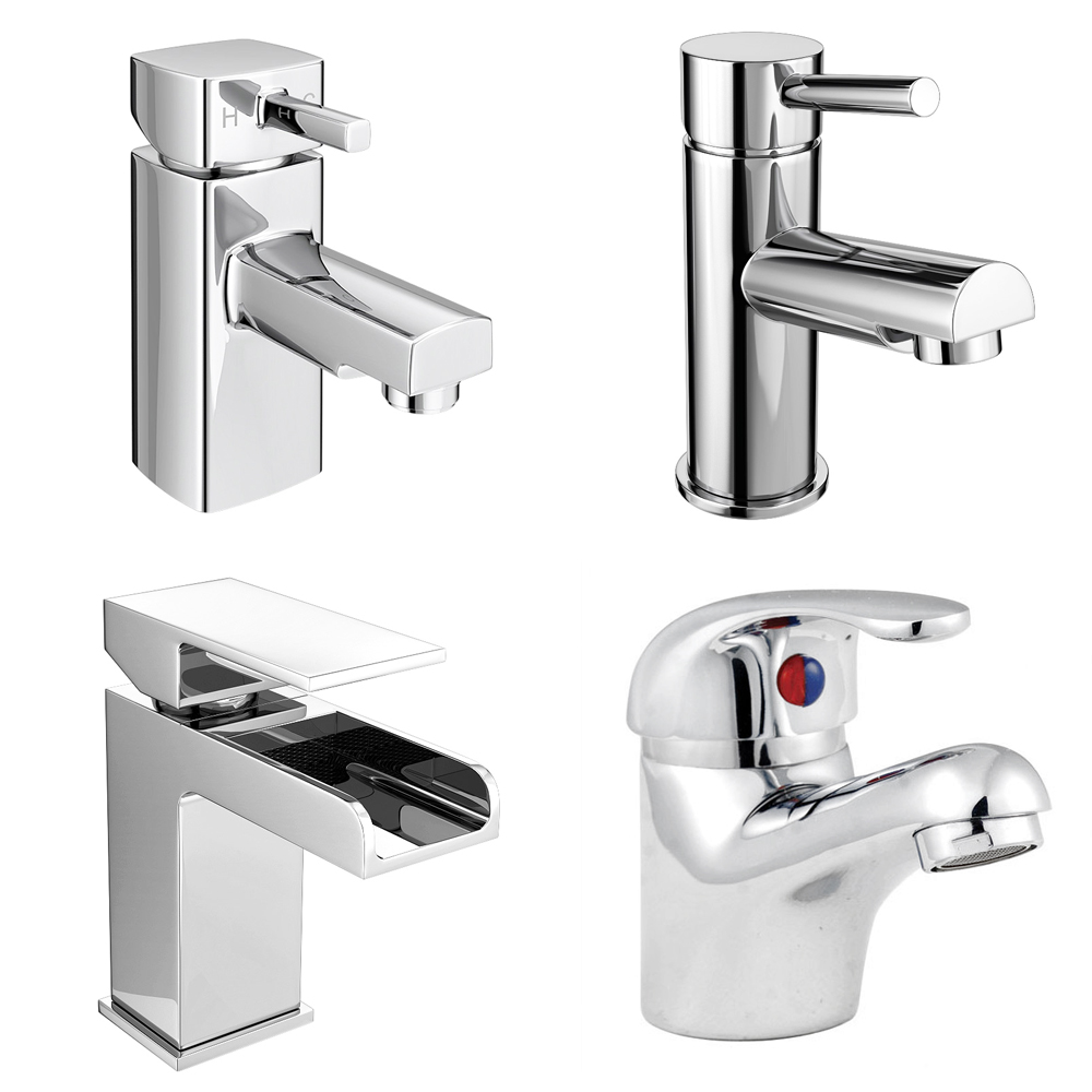 Alaska 1050mm Vanity Unit Cloakroom Suite + Basin Mixer (Gloss White - Depth 300mm) profile large image view 3