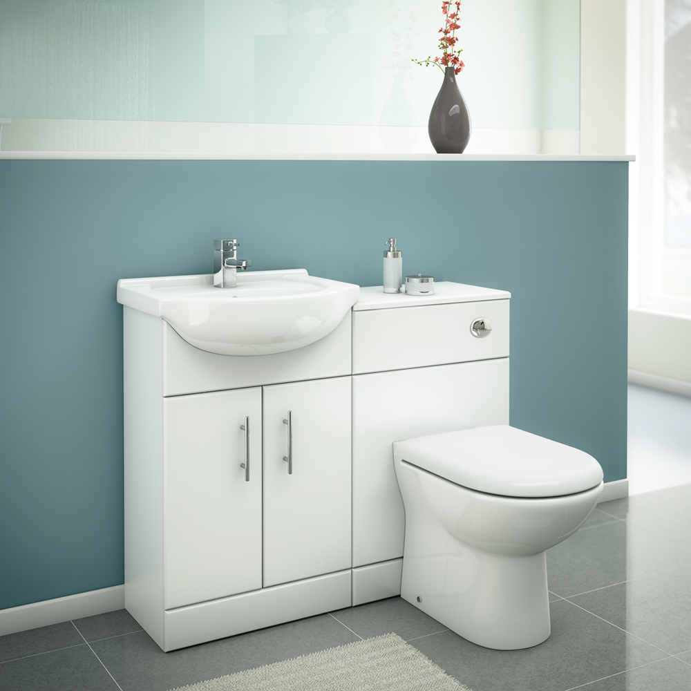 Alaska High Gloss White Vanity Unit Cloakroom Suite With Basin Mixer