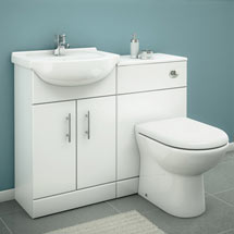 Alaska 1050mm Vanity Unit Cloakroom Suite w Basin Mixer (Gloss White - Depth 300mm) Medium Image