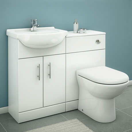 Alaska 1050mm Vanity Unit Cloakroom Suite w Basin Mixer (Gloss White - Depth 300mm)