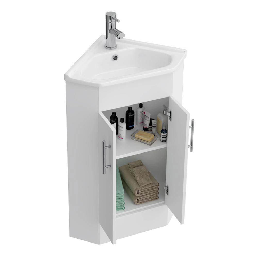 Alaska Corner Cabinet Vanity Unit (High Gloss White)  In Bathroom Large Image