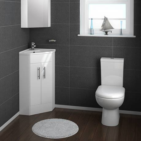 Alaska Corner Cabinet Vanity Unit - High Gloss White - AV001