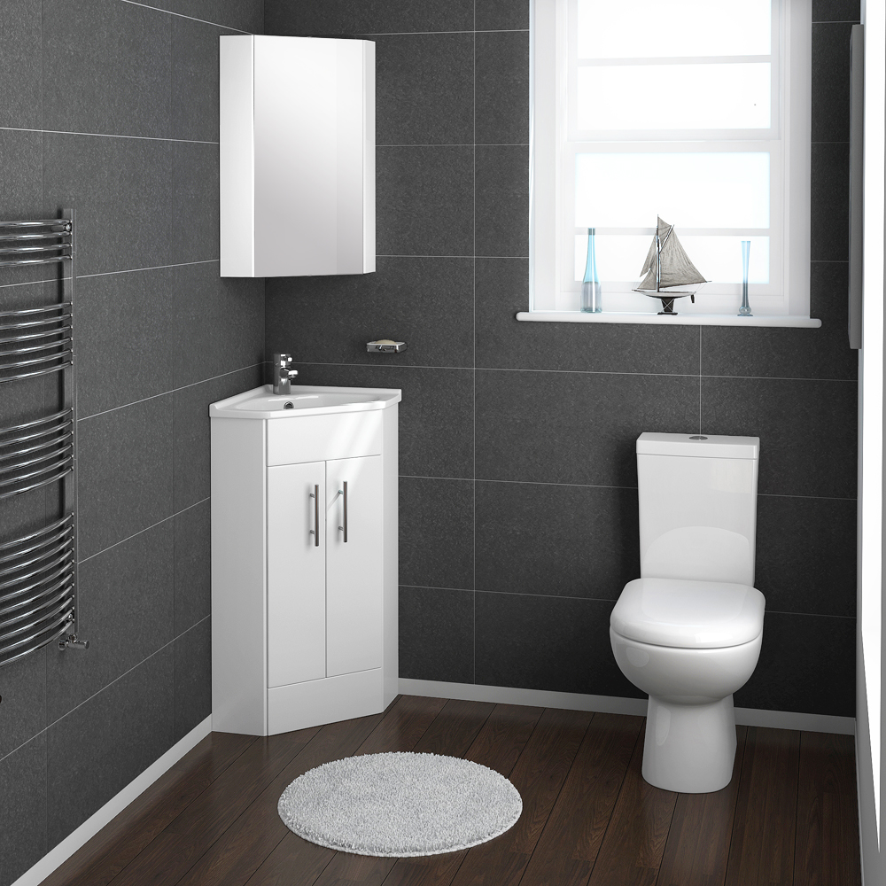 Alaska cloakroom suite with corner basin at victorian for Toilet for small bathroom
