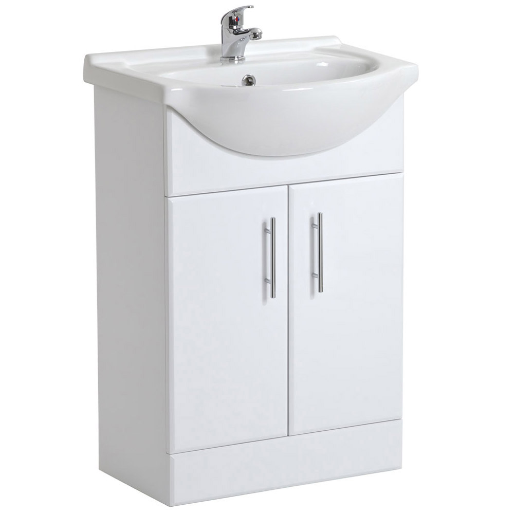 Alaska 1850mm Double Basin Vanity Unit Suite (High Gloss White - Depth 300mm) profile large image view 2