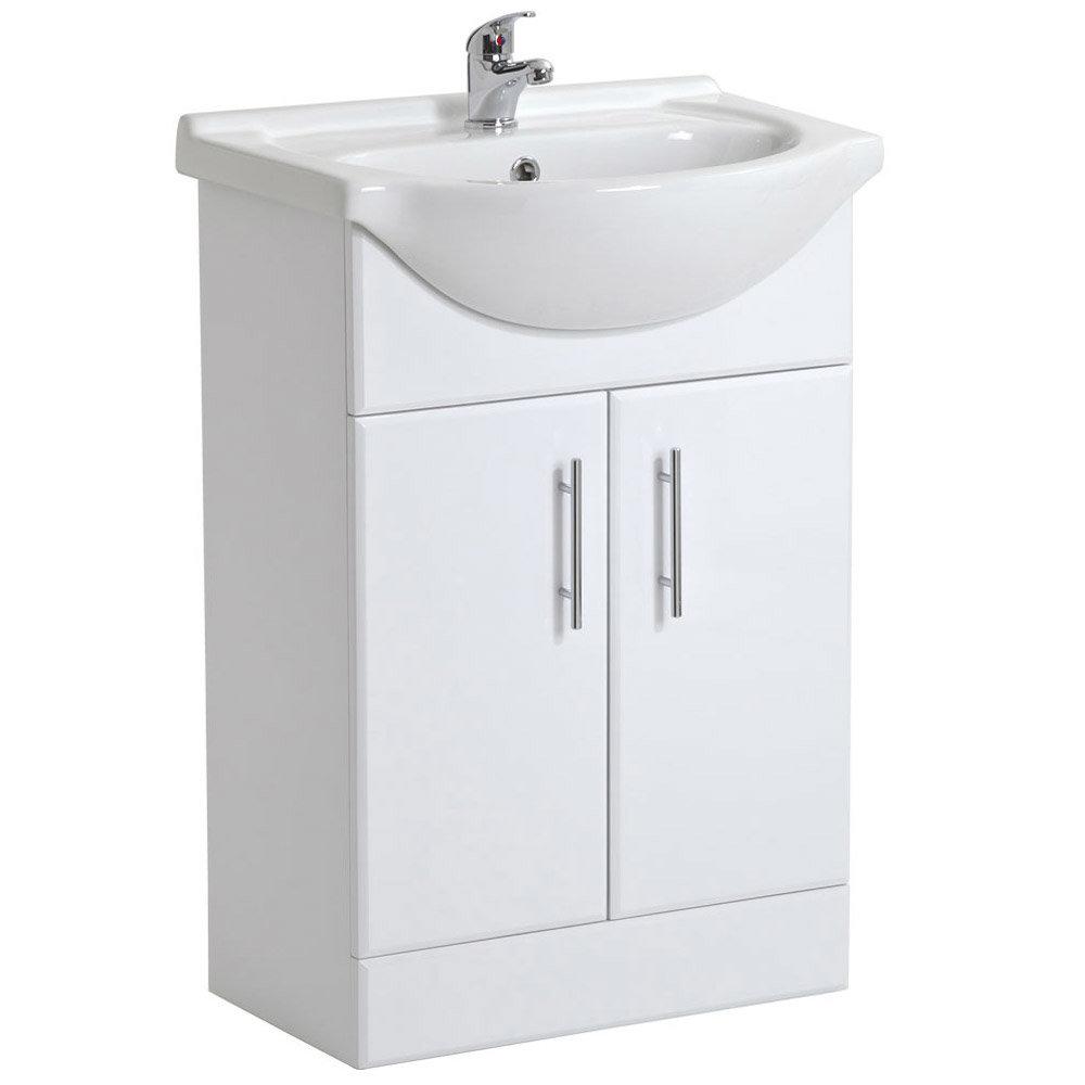 Alaska 1850mm Double Basin Vanity Unit Suite (High Gloss White - Depth 300mm) Profile Large Image
