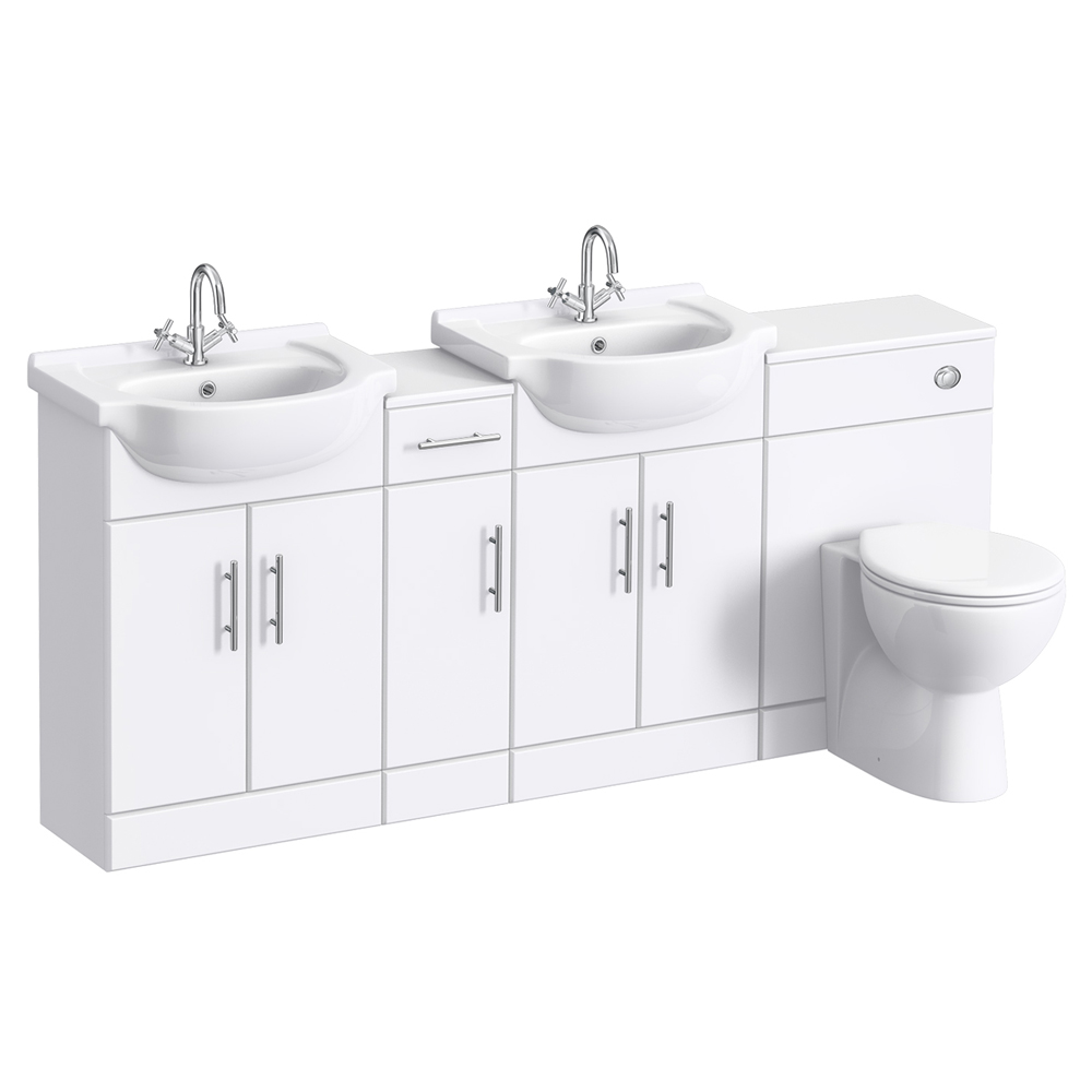Alaska 1850mm Double Basin Vanity Unit Suite (High Gloss White - Depth 300mm) Large Image