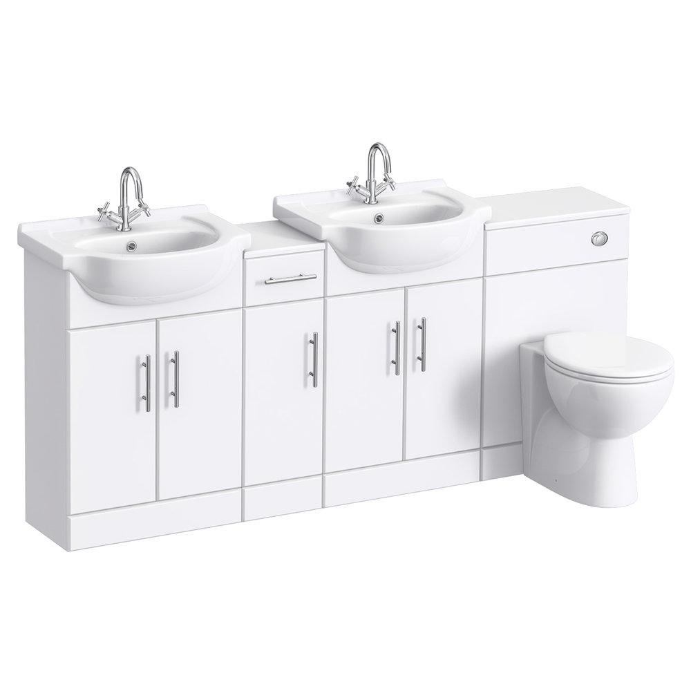 Alaska 1850mm Double Basin Vanity Unit Suite (High Gloss White - Depth 300mm) profile large image view 1