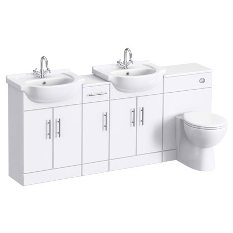 Alaska 1850mm Double Basin Vanity Unit Suite (High Gloss White - Depth 300mm)